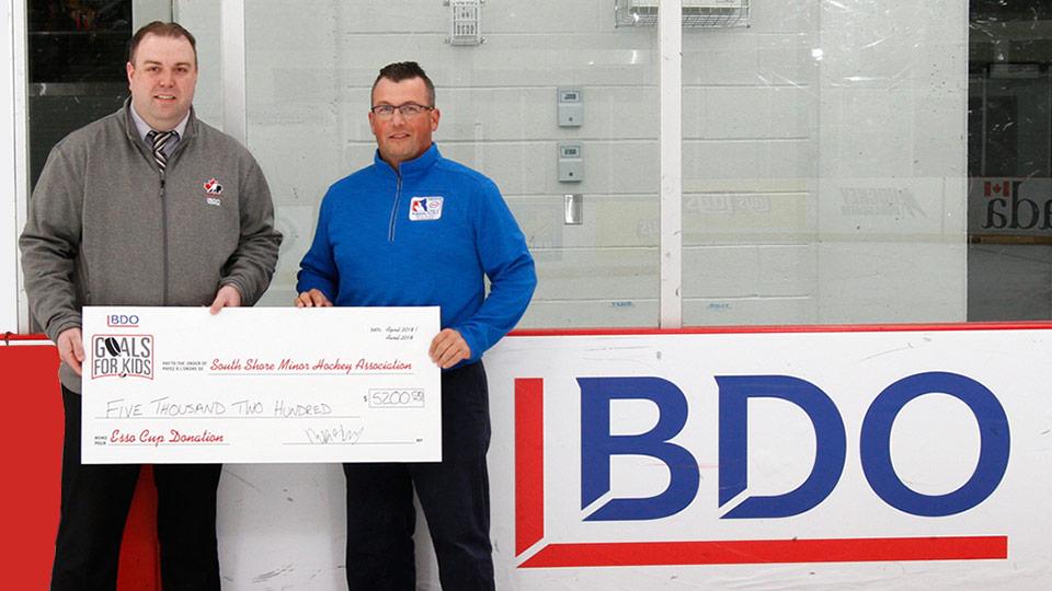 BDO Goal for Kids cheque presentation