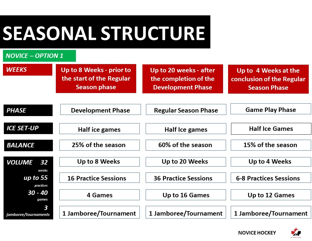 Novice Hockey Seasonal Structure