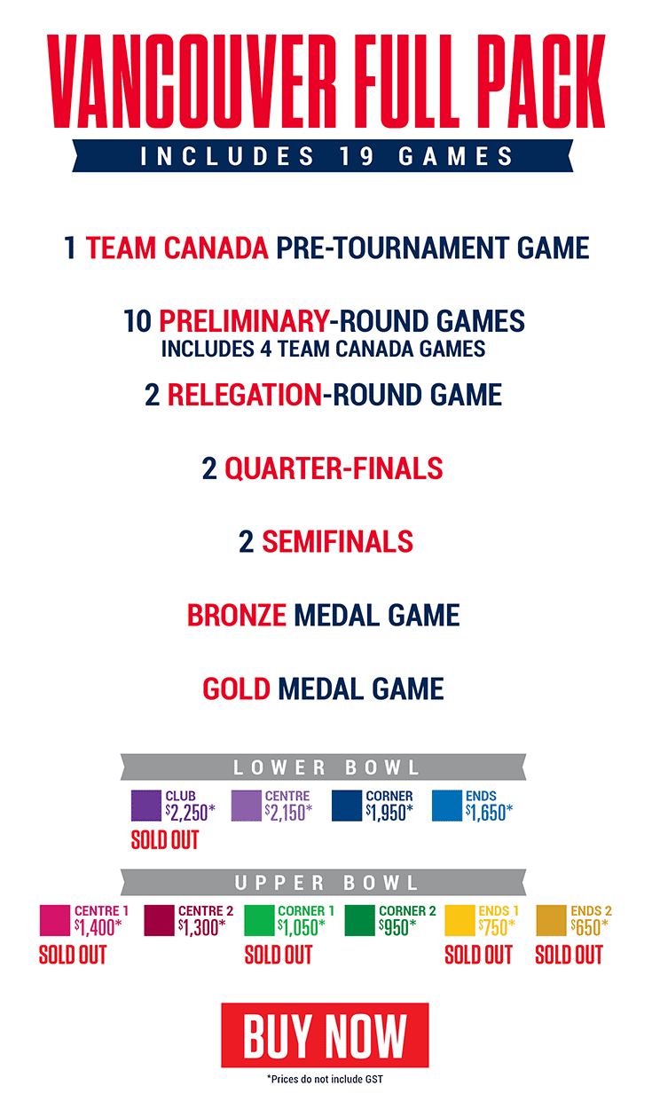 2019 World Junior Championship - Vancouver - Full event ticket pack