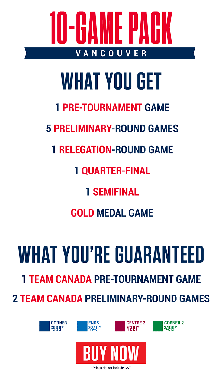 2019 World Junior Championship - Vancouver - 10-game ticket pack
